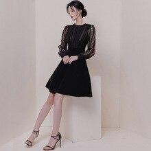 Women Long Sleeve Perspective A-line Bodycon Dress Modis Streetwear Autumn 2019 Mesh Patchwork Black Velvet