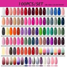 MEET ACROSS 100/80/60Pcs Colors Gel Nail Polish Set Glitter Sequins Gel Varnish Soak Off UV Led Gel Nail Art Varnish
