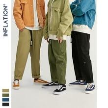 인플레이션 2020 가을 겨울 Streetwear 바지 남성 캐주얼 스타일 스트레이트 코튼 바지 남성 통기성 허리 벨트 93365W