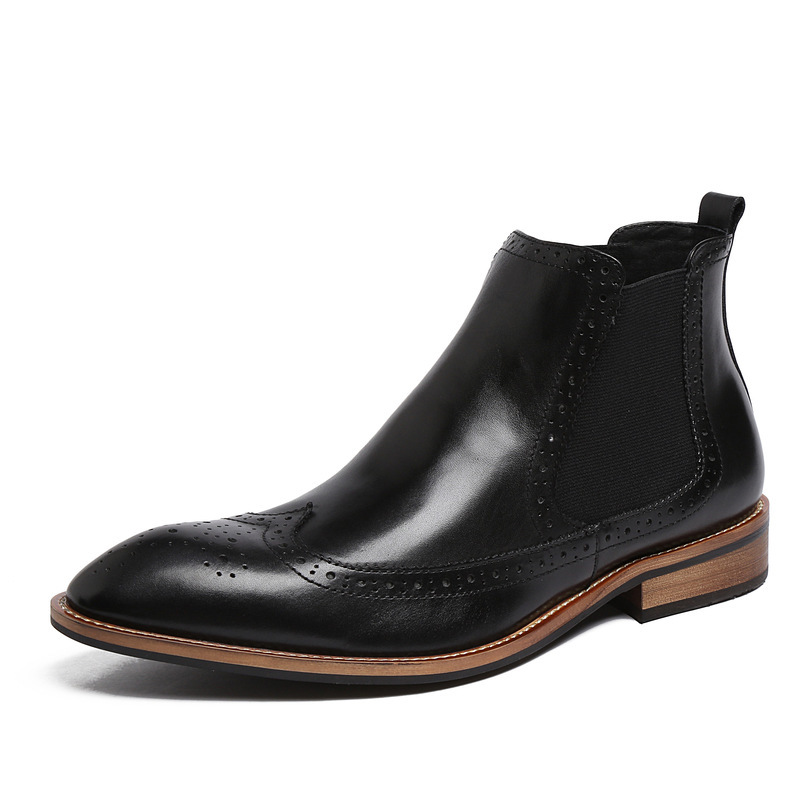 Winter Mens Retro Knight Boots Pointed Toe Slip On Brogue Chelsea Boots Real Leather Business Man Casual Shoes Fashion Footwear