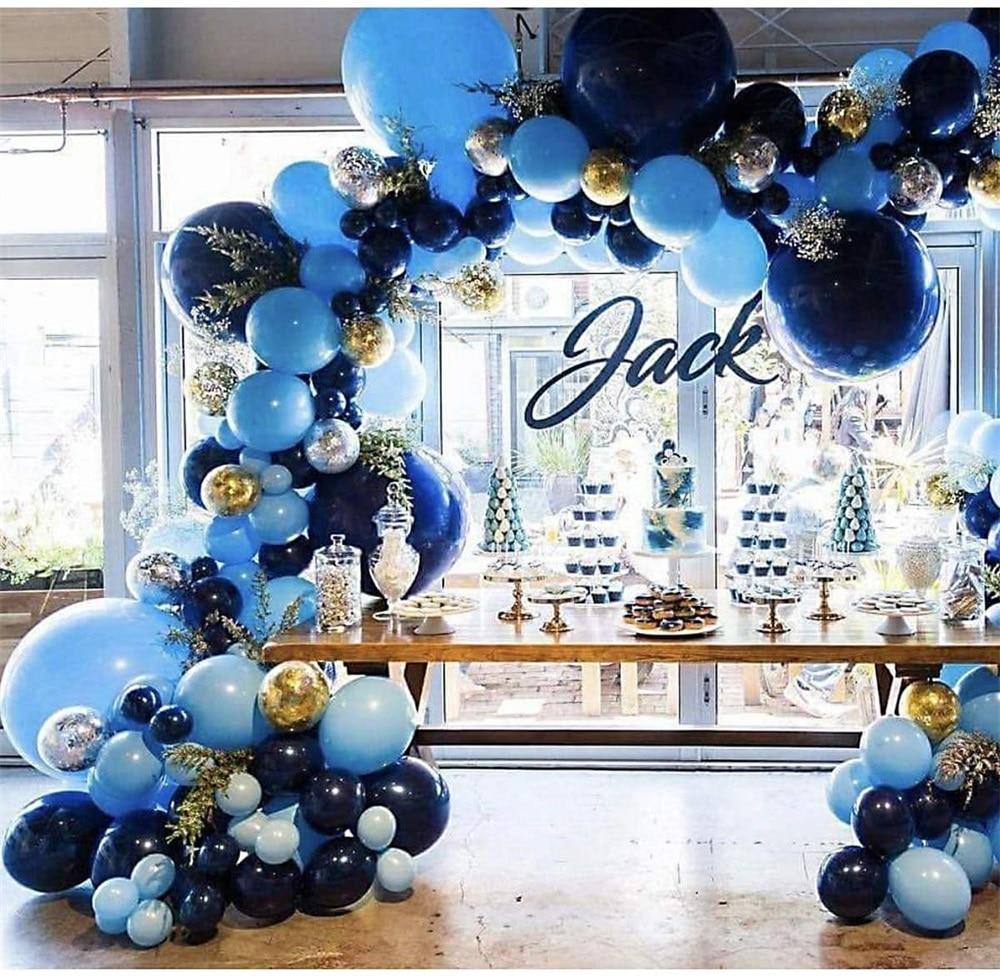 106pcs New Retro Color Navy Blue  Balloons Garland Gold Silver Confetti Balloon Arch Birthday Baby Shower Wedding Party Decor