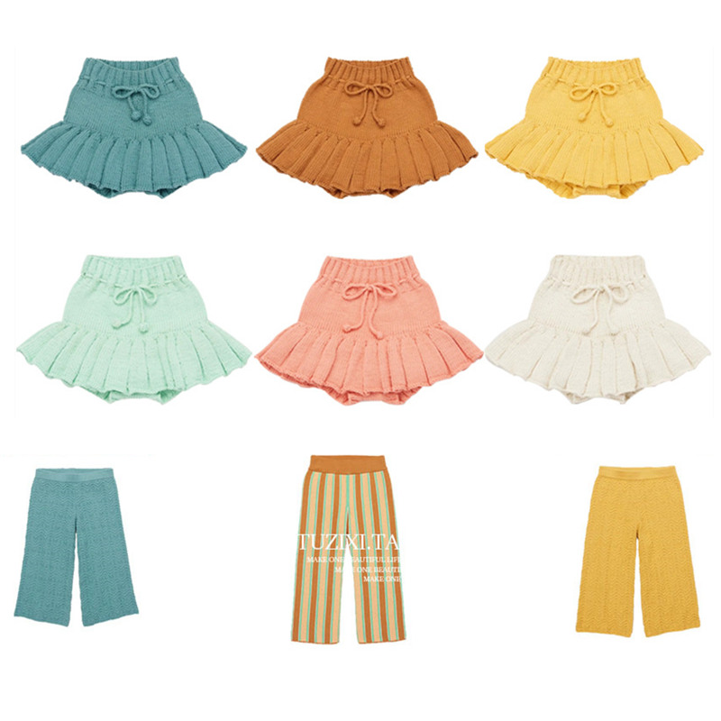2021 Misha Puff Kids Wide Leg Pants Baby Girls Summer Knitted Short Trousers Toddler Skirt Casual Bottom Boys Clothes Knitwear 1