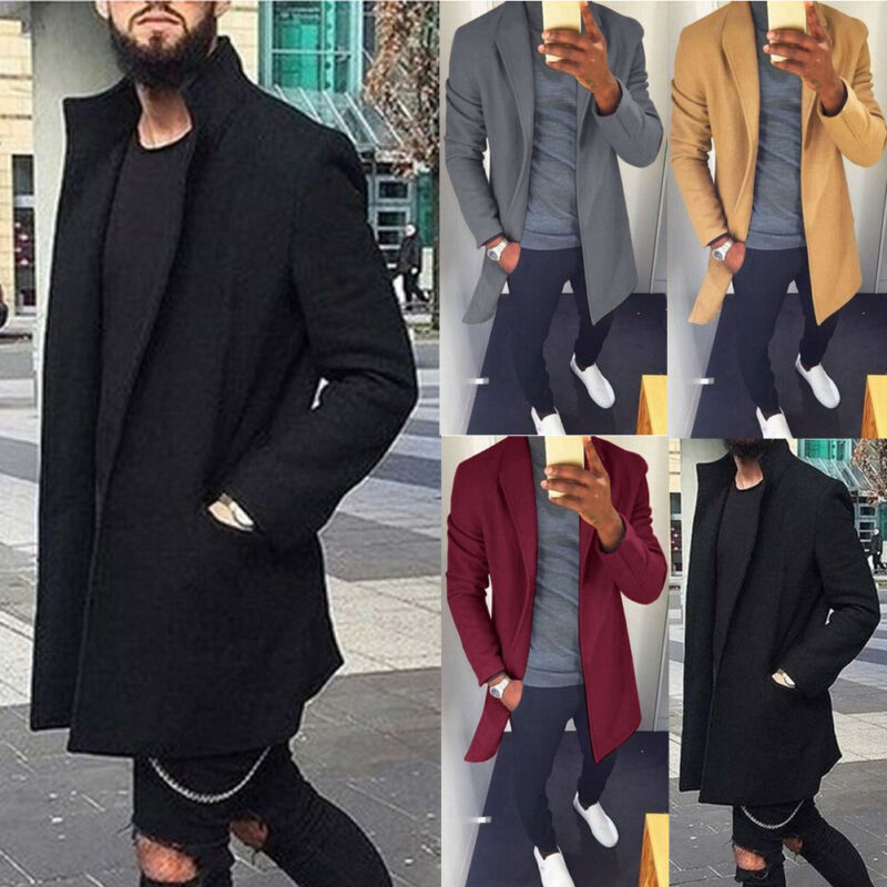 2019 Autumn Winter Men Casual Coat Thicken Woolen Trench Classic Overcoat Medium Long Jackets Trench Coat Business Male Solid