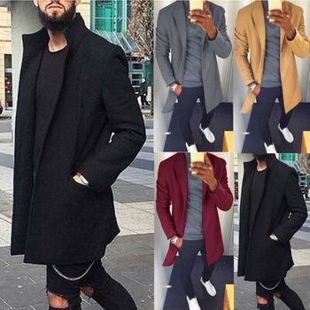 2019 Autumn Winter Men Casual Coat Thicken Woolen Trench Classic Overcoat Medium Long Jackets Trench Coat Business Male Solid