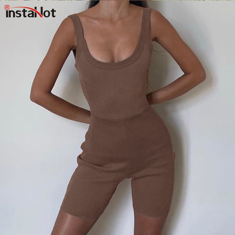 InstaHot Brown Strap Sexy Playsuit Sleeveless Bodycon Backless Rib Knit Slim Jumpsuit Women Summer Casual Streetwear Playsuit