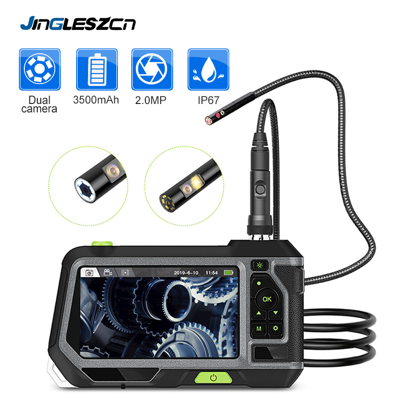 5.5mm Dual Lens Industrial Endoscope 2.0MP Inspection Camera 5 Inch 1280P HD LCD Screen Waterproof Borescope with 6 LED Lights