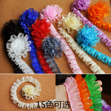 2.5cm Wide Color Pleated Mesh Fabric Fine Lace Ribbon DIY Skirt Shoes Bag Sewing Accessories Dolls Clothing Decoration