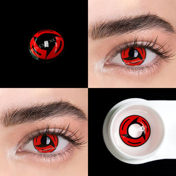 1pair(2pcs) 1 Year Cosplay Sharingan Contact Lenses for Eyes Colored Red Uchiha Sasuke Hatake Kakashi Anime Accessories - 5