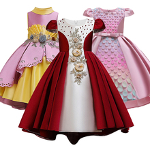 Druhna honorowa haftowane cekiny księżniczka nosiła perłową sukienka z trenem pierwsza haftowana sukienka dziewczęca na eucharystię tanie tanio Kolan -Line O-neck Bez rękawów Czesankowej Kwiaty Aplikacje dress Flower girl dresses REGULAR Casual