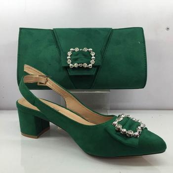 Excellent Green African High Heel Pointed Toe Sandals With Handbag Elegant Shoes And Purse Bag Set GY46 Heel Height 6CM