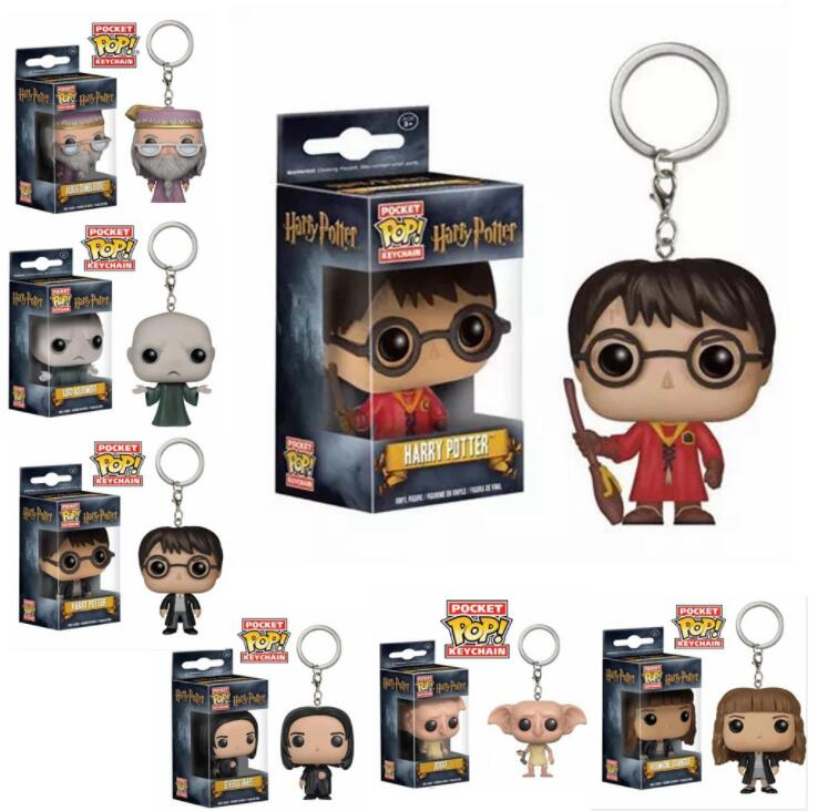FUNKO POP New Arrival DOBBY HERMIONE DUMBLEDORE HARRY POTTER VOLDEMORT Keychain Action Figure Collection Toys For Children Gift