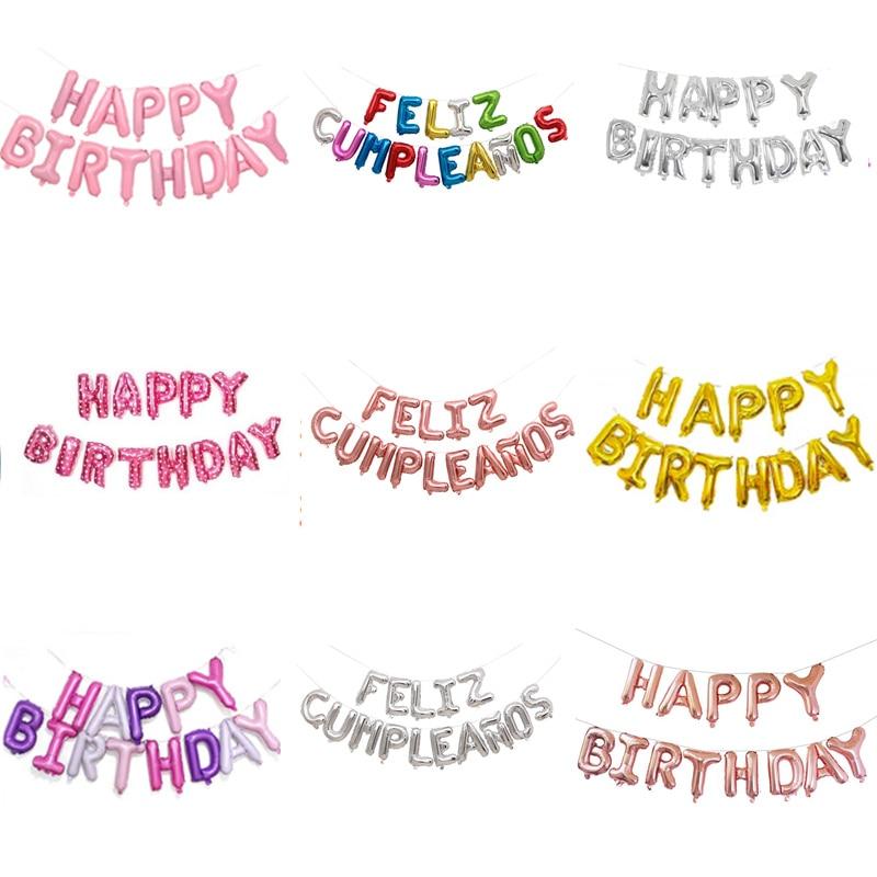 16 polegada Rose Ouro Espanhol Feliz Cumpleaños Balões Feliz Aniversário Carta Foil Balão de Festa Decoração Alfabeto de Ar Inflável Globos