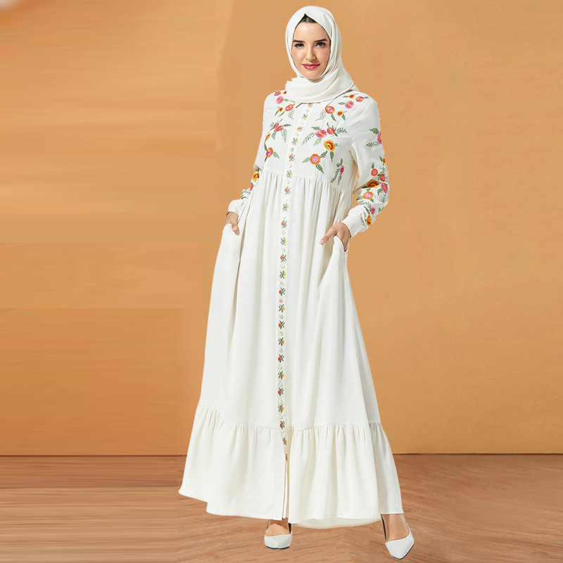 White Muslim Dress Women Dubai Abaya Turkish Hijab Dresses Caftan Marocain Kaftan Robe Islam Clothing Abayas Arabische Kleding