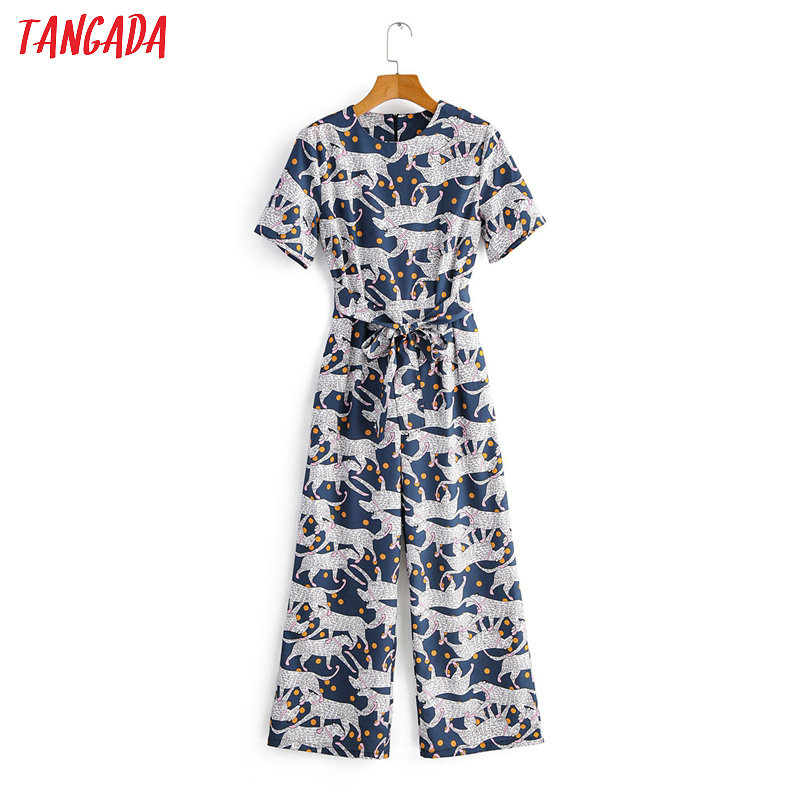 Tangada Women Animal Dots Print Long Jumpsuit Short Sleeve Zipper Pocket Female Casual Jumpsuit 1F37