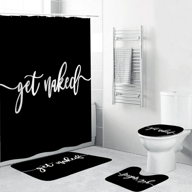 """""""Get Naked"""" Bathroom Mat Sets with Shower Curtain Letter Print 4 Piece Set Non-slip Rug Toilet Cover Bath Mat Pad"""