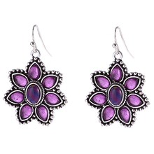 Vintage Natural Purple Stone Petal Statement Earring Boho Crystal Flower Dangle Earrings for Women Fashion Jewelry(China)