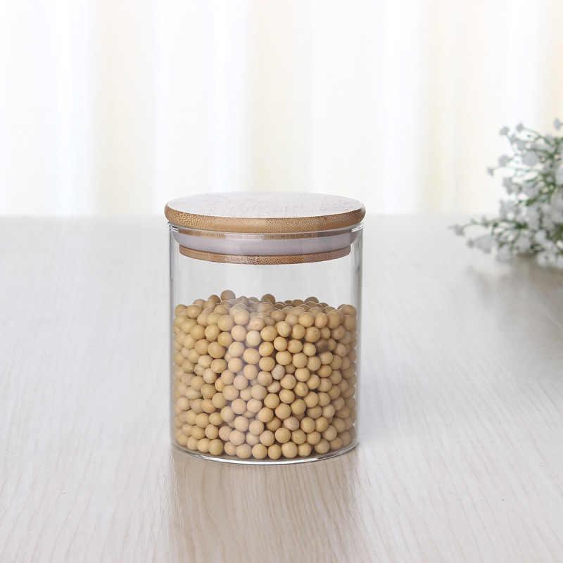 450/650/950 Ml Serbaguna Bambu Kaca Tutup Kedap Udara Tabung Penyimpanan Botol Toples Biji-bijian Daun Teh Biji Kopi permen Makanan Toples