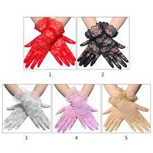 Short-Gloves Driving-Mittens Sunscreen Lace Ruffles Women Full-Finger Trim Floral Sheer