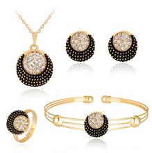 цена на Gold Color Round Pendant Necklace Crescent Earrings Moon Ring Bangle Jewelry Sets Crystal Jewelry Four-piece set Women Girl Gift