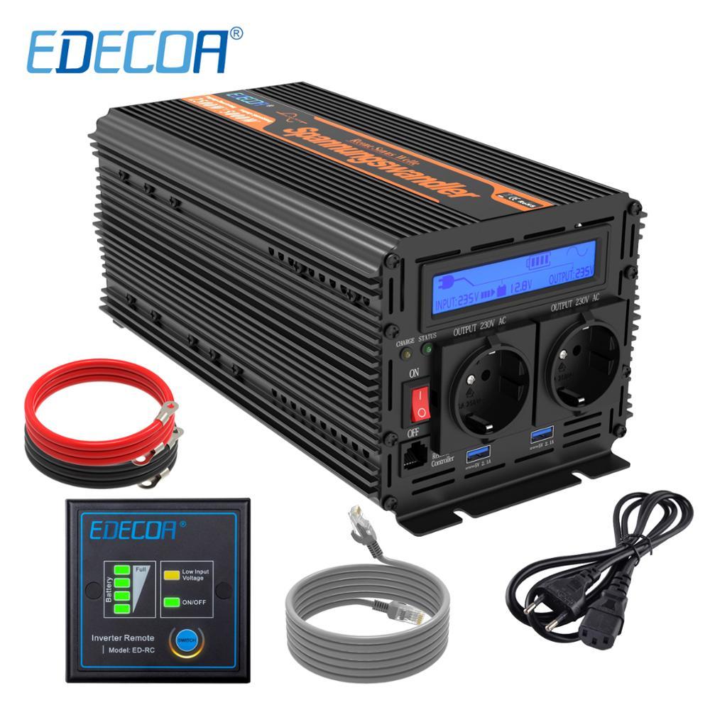 EDECOA UPS зарядное устройство инвертор 2500 Вт 5000 Вт DC 12 В AC 220 В 230 в 240 В в Чистая синусоида с USB пультом дистанционного управления ЖК дисплей