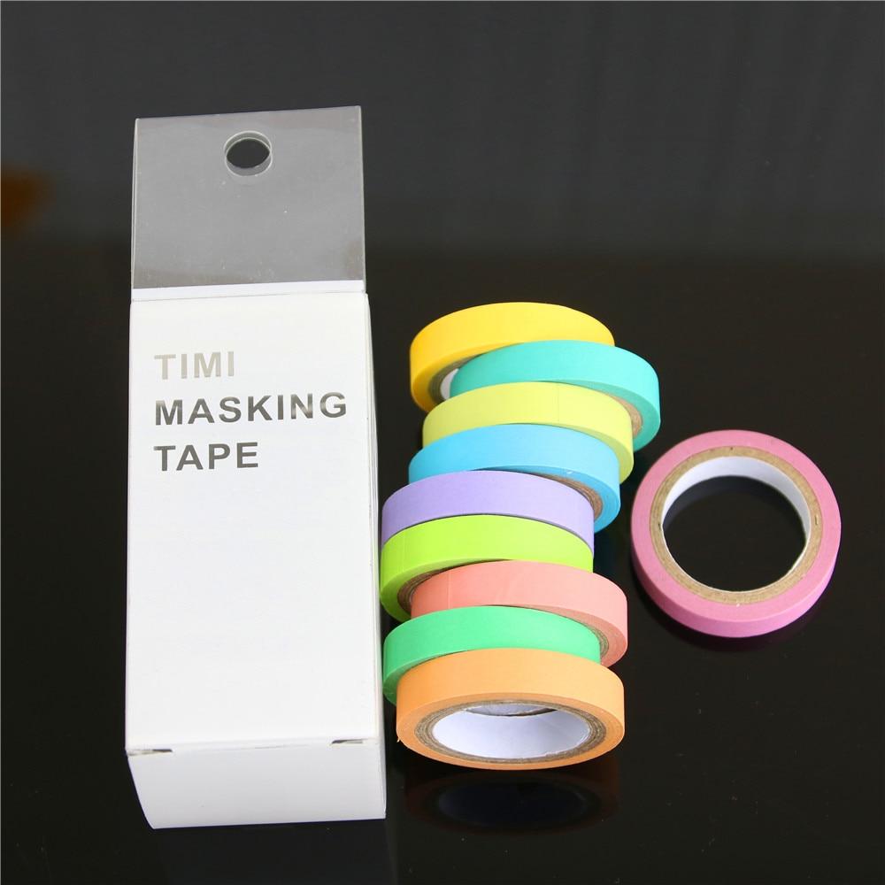 10 Pcs Rainbow Roll Diy Washi Sticky Paper Tape Masking Tape Self Adhesive Tape Scrapbooking Decorative Scrapbook Tape Gift