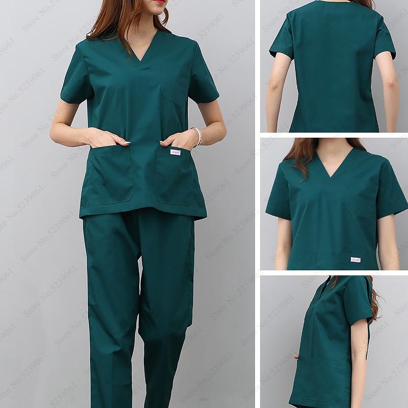 Adult Nurse Doctor Medical Uniform Nursing Scrubs Surgical Suit Lab Clinical Top T-shirt Pants Pharmacy Beauty Hospital Coatumes