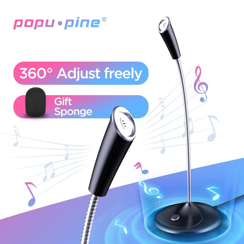 Popu Pine Computer Microphone 360° Adjust Freely Studio Speech Microphone Gaming Chatting USB Microphone Desktop PC Laptop