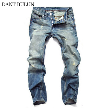 цена на Mens Jeans Retro Destroyed Straight Slim Fit Side Stripe Denim Pants Button Fly Ripped Jeans Men Scratched For Male Classical