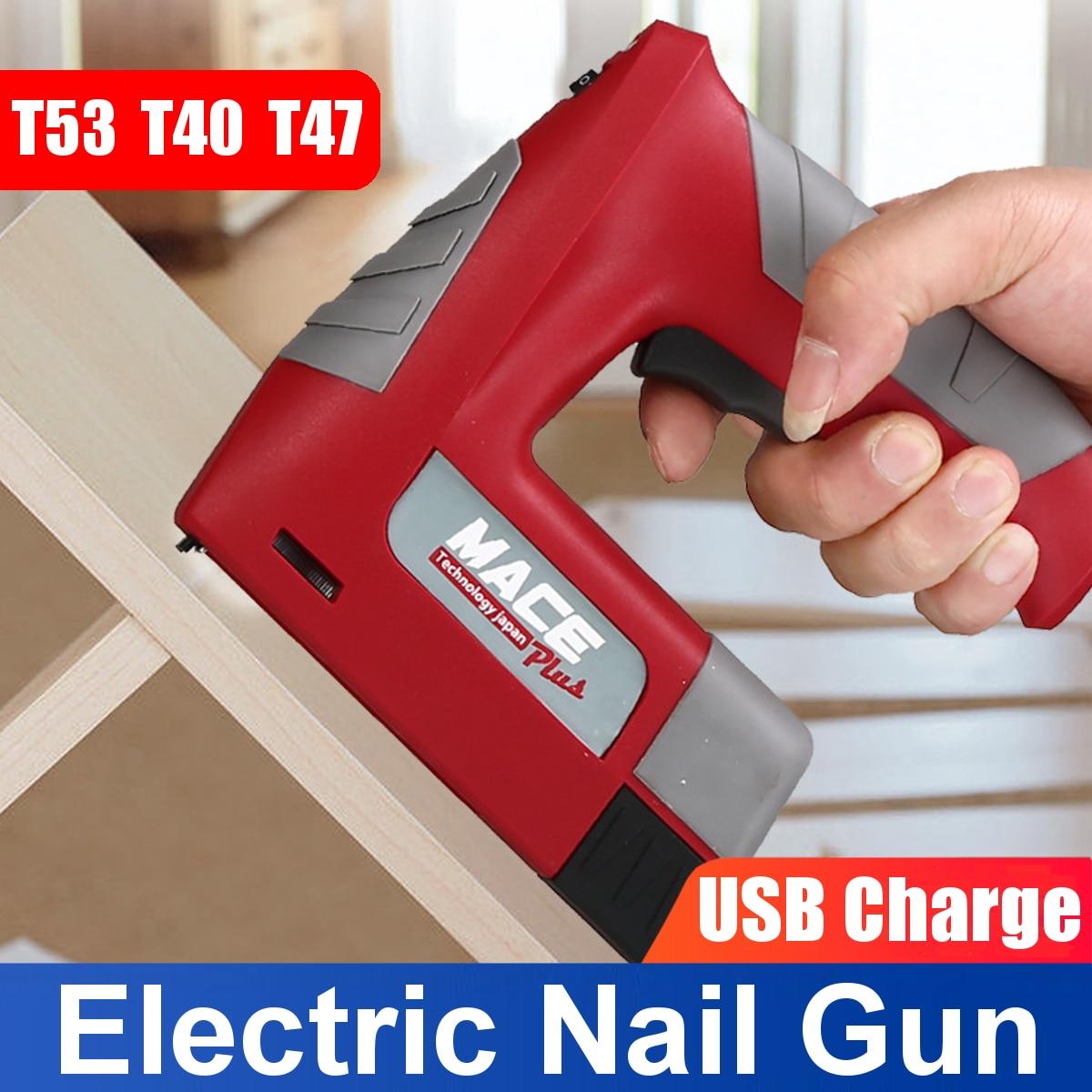 Electric Nail Gun 4.2V Power Brad Nailer Stapler Woodworking Straight Nail&Door Nail Staple Gun USB Rechargeable Lithium Battery