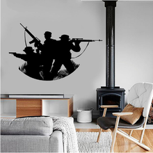 Classic Vinyl Wall Sticker Quote Army Teamwork Home Decor Soldier Military Modern War Teens Room Art Mural Decal(China)