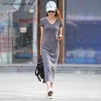 2019 summer new V neck bag hip dress in the long paragraph Slim splitting base large size short sleeved dress B144