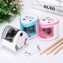 Automatic Electric Pencil Sharpener for School 2 Holes Battery Operated Students Stationery Mechanical Sharpener With Receptacle