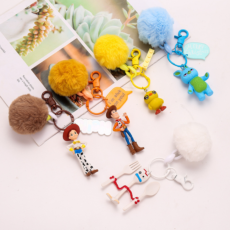 1pc Toy Story 4 Figure Keychain Keyring Anime Toys Fluffy Pompom Keychain Holder Buzz Lightyear Woody Forky Jessie Key Chain