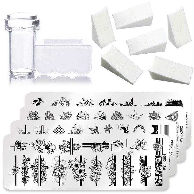1 Набор штамповочных тарелок для ногтей, скребок для штамповки листьев, роз, шаблоны штампов для ногтевого дизайна, губчатые головки, инстру...