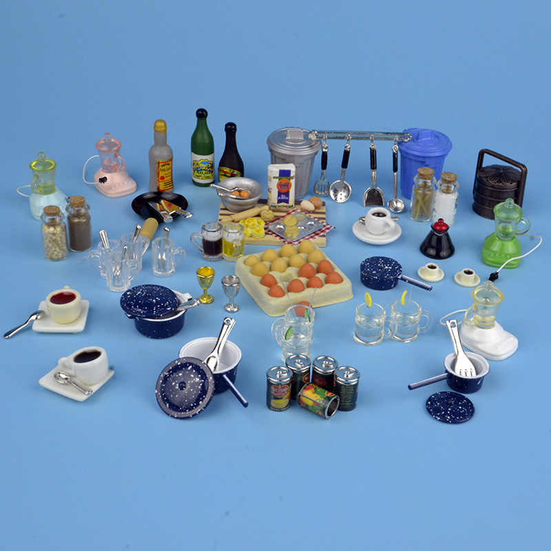 1:12 dollhouse miniature 27 types home kitchen tools food knife fork spoon toys cups bowl pot Pan match for forest animal family
