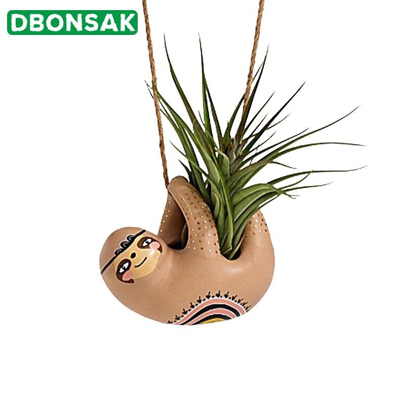 Parede pendurado vaso de suspensão cerâmica preguiça vasos de flores suculentas plantador animal vaso de flores casa jardim vaso decoração desktop|Vasos e agricultores| |  - title=