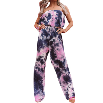2020 Women Summer Sexy Strapless Tie-dye Printed Long Jumpsuit Female Casual Sleeveless Loose Playsuit Overalls Beach Wear D30