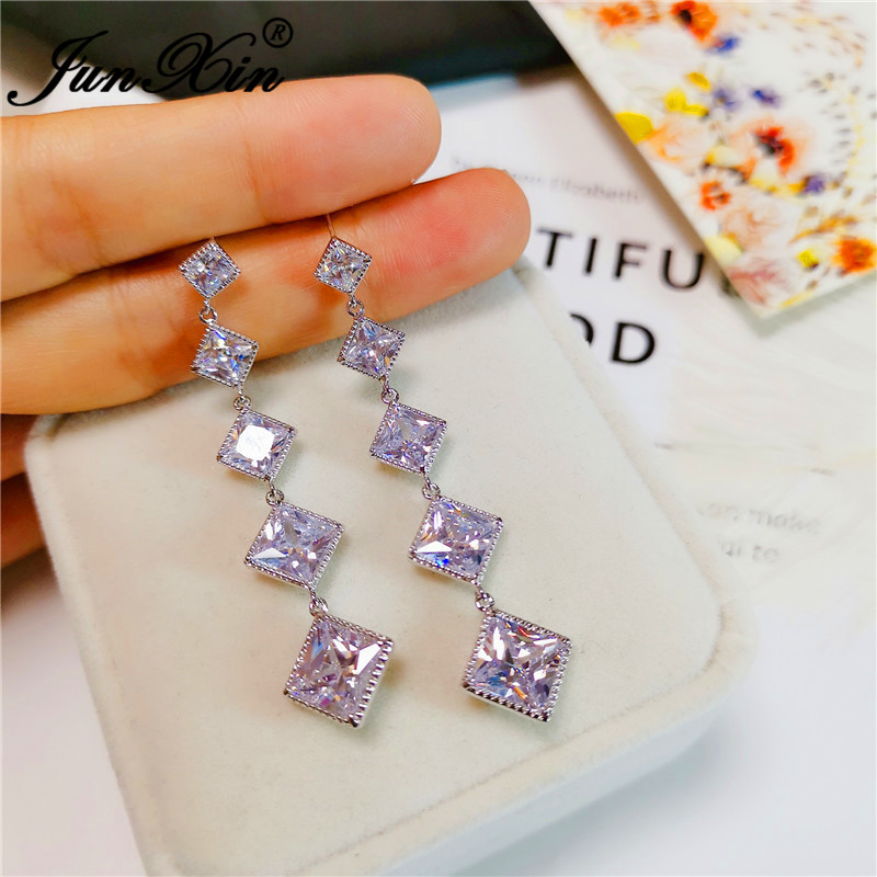 Charm Female Austrian Crystal Tassel Earring Silver Color Geometric Square Zircon Wedding Drop Earrings For Women Cz Jewelry