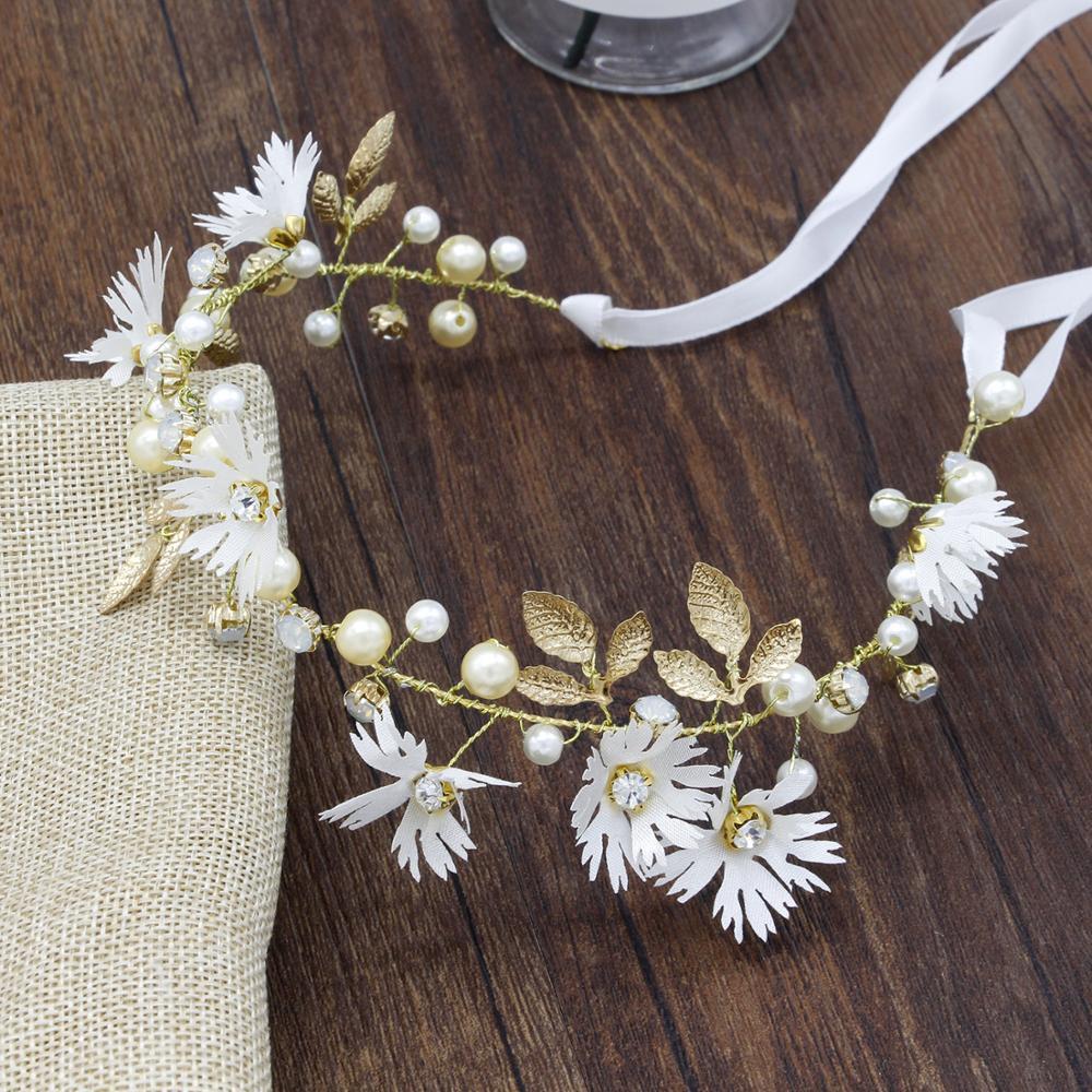 White Floral Headband Girl Bridal Head Wreath With Pearls Diamond Handmade Hairwear Flower Crown Wedding Hair Accessories TS175