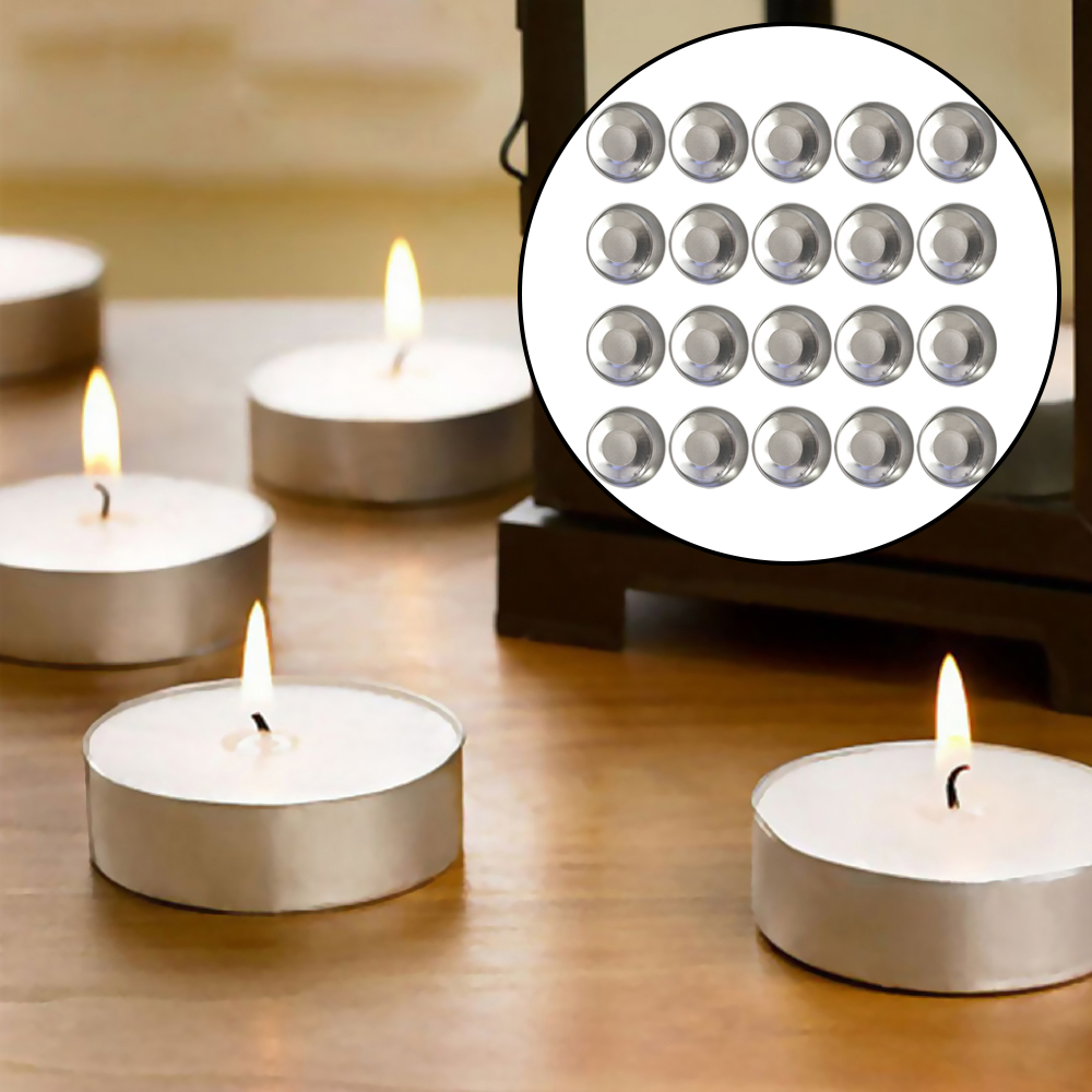 50PCS Empty Aluminum Tealight Candle Wax Tins Jars Cases Containers Molds Holders for DIY Candle Making Supplies 3.8x1.58cm