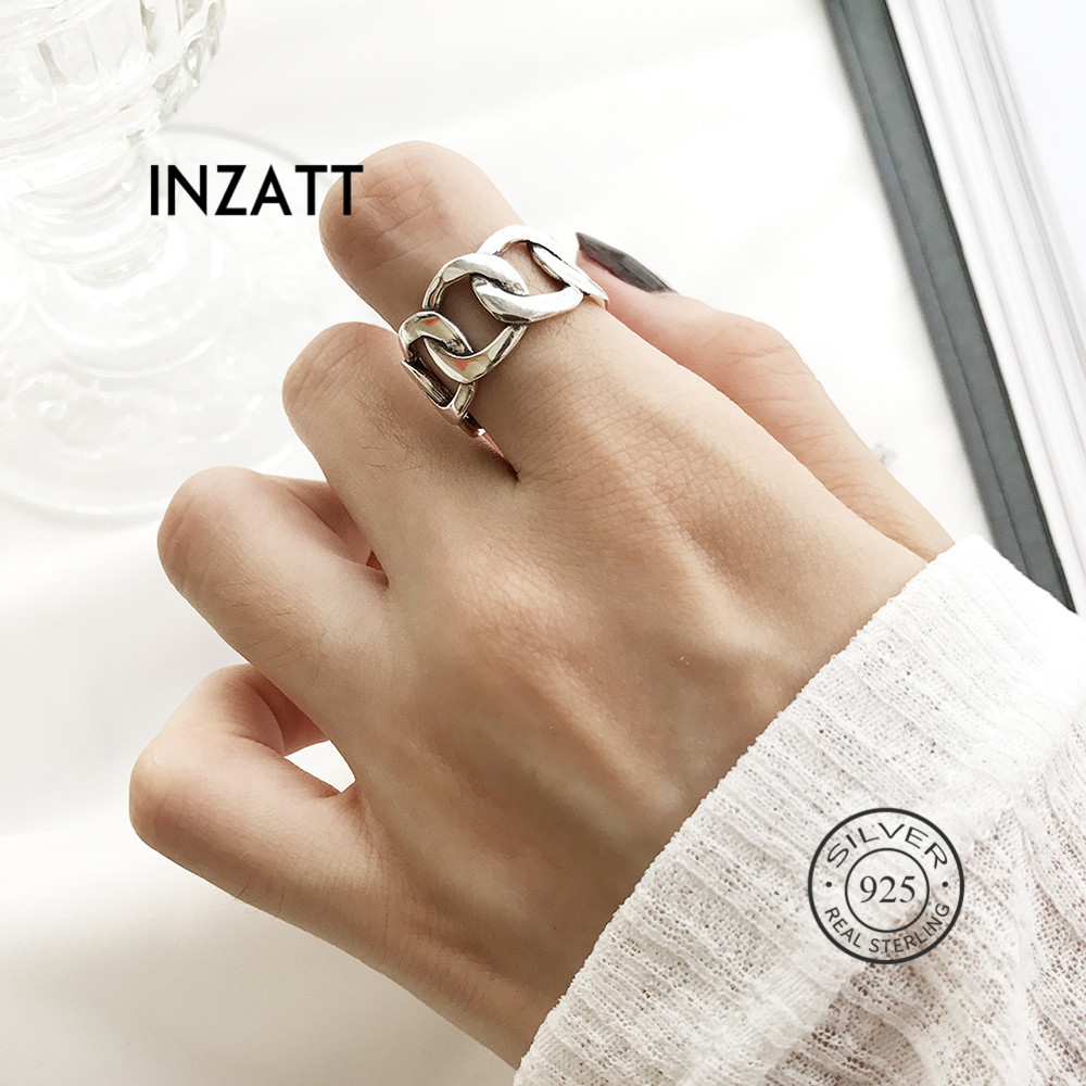 INZATT Real 925 Sterling Silver Minimalist Hollow Chain Ring For Charming Women Party Hophip Fine Jewelry  2019 Accessories Gift