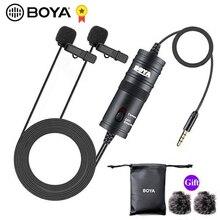 BOYA BY M1DM micro téléphone Lavalier caméra Double tête micro revers condenseur micro pour xiaomi collier iPhone Xs X Canon DSLR