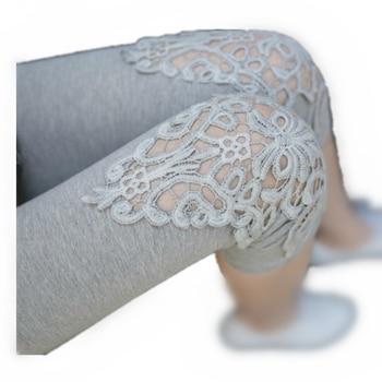 цена на LJCUIYAO Women Summer Black Hollow Lace Stretch Leggings Thin Sports Fitness Skinny Mid-Calf Pant Plus Size Cotton Lace Leggings