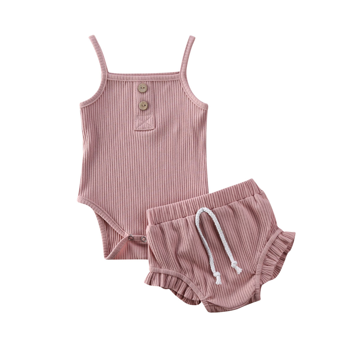 Summer Newborn Kid Baby Girls Clothes Set 2PCS Sleeveless Solid Knitted Crop Tops + Shorts Outfits