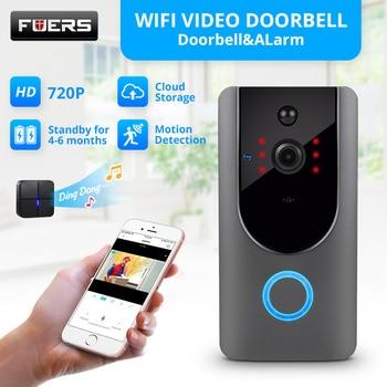 Fuers Video Intercom Doorbell Smart Wireless IP Wifi Doorbell 720P Camera Security Phone Waterproof Cloud Storage For Home build in battery long time standby wireless wifi 720p ip doorbell intercom system