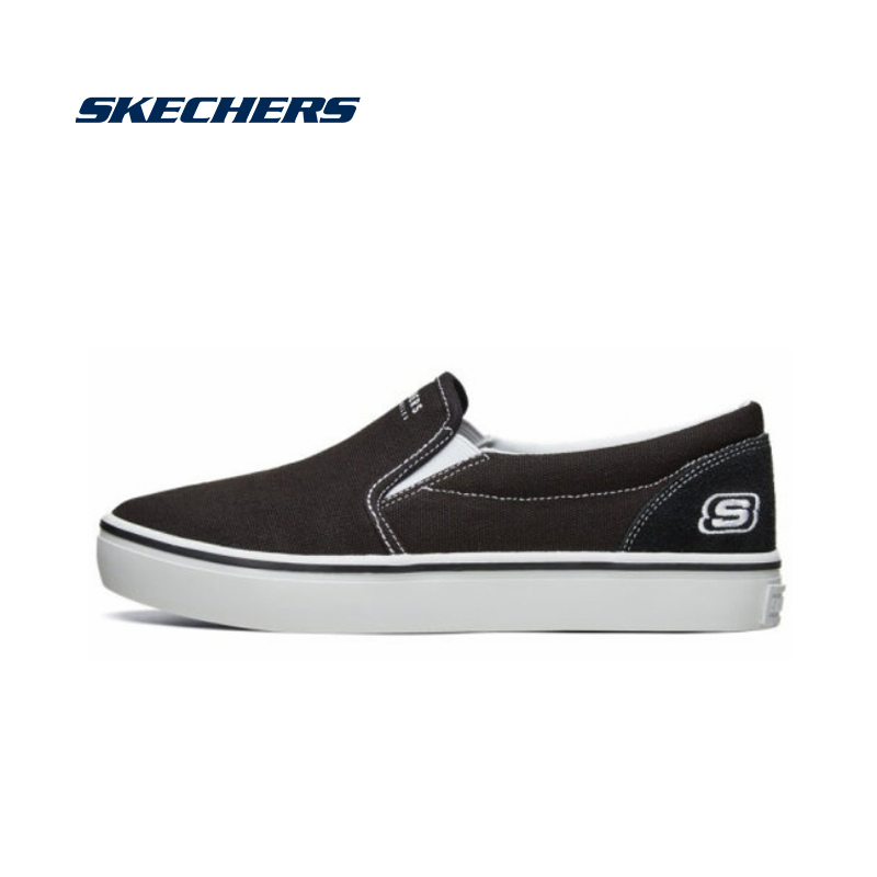 Skechers Women Casual Shoes Fashion Canvas Shoes Woman Brand Design Breathable Ladies Casual Shoes Vulcanized Shoes 66666213-BLK