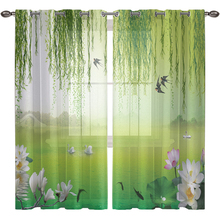 3D Willow Tulle Curtains For Living Room Luxury Sheer Blackout Window Bedroom French Flowers Voile