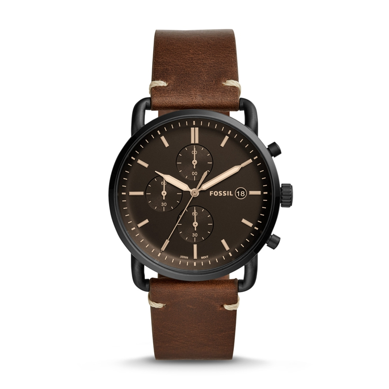 Fossil Men's Watch Commuter Stainless Steel and Leather Black Brown Casual Quartz Watch for Man FS5403