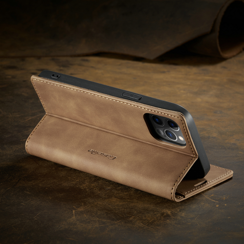 iPhone Flip Magnetic Matte Leather Luxury Wallet