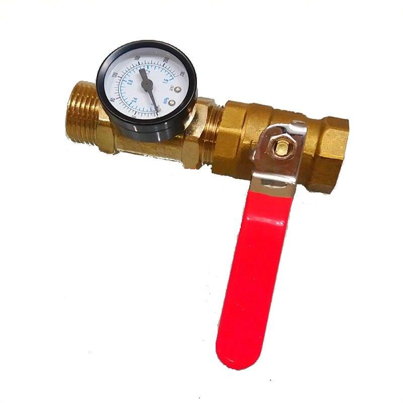 Pressure Gauge Meter Control Valve End Water Test Equipments Fire Equipment Accessories DN25 Brass Ball Value Male Female Thread